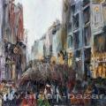 Александр Емельянов. İstiklal caddesi. Стамбул, улица Истикляль. Холст на картон